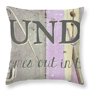 Throw Pillow featuring the painting It All Comes Out In The Wash by Debbie DeWitt