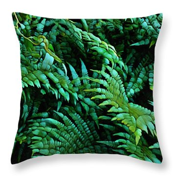 It Greens So Green ... Fern Abstract  Throw Pillow
