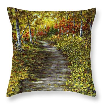 It Hiked Silver Bay Throw Pillow