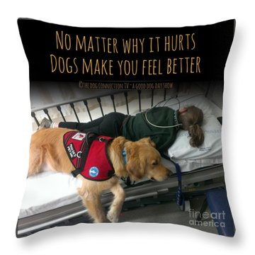 Throw Pillow featuring the digital art It Hurts by Kathy Tarochione