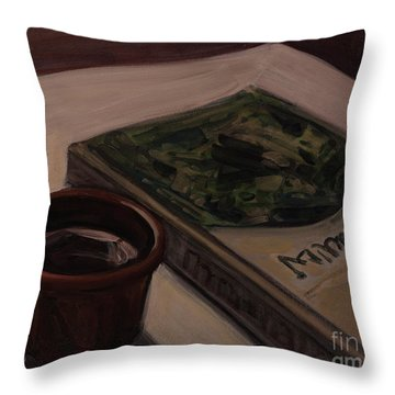 Throw Pillow featuring the painting It Is Coffee Time by Olimpia - Hinamatsuri Barbu