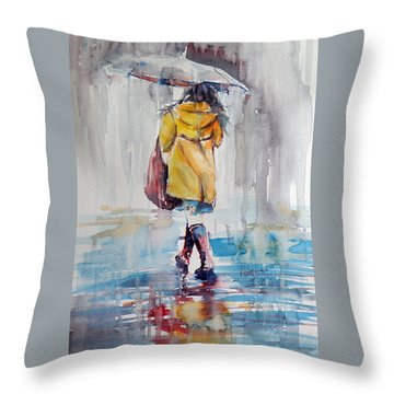 It Is Raining Throw Pillow