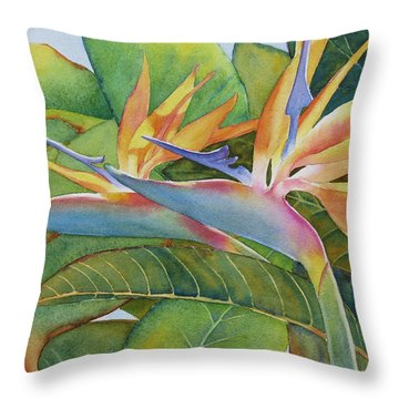 Throw Pillow featuring the painting It Takes Two by Judy Mercer