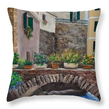 Italian Arched Bridge With Flower Pots Throw Pillow by Charlotte Blanchard
