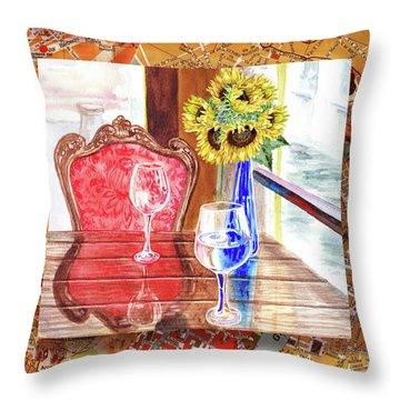 Throw Pillow featuring the painting Italian Cafe  by Irina Sztukowski