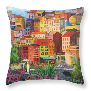 Throw Pillow featuring the painting Italian City by Anne Dentler