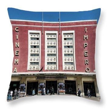Italian Colonial Art Deco Old Cinema Building In Asmara Eritrea Throw Pillow