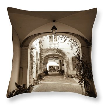 Italian Courtyard  Throw Pillow