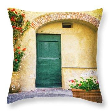 Throw Pillow featuring the photograph Italian Facade With Geraniums by Silvia Ganora