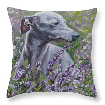 Throw Pillow featuring the painting  Italian Greyhound In Flowers by Lee Ann Shepard