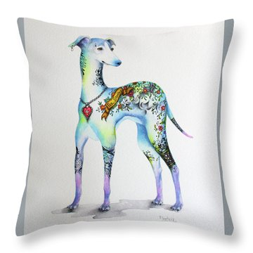 Italian Greyhound Tattoo Dog Throw Pillow by Patricia Lintner