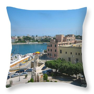 Italian Harbor- Brindisi, Apulia Throw Pillow