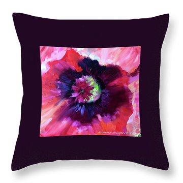Italian Ice Pink Poppy  Throw Pillow