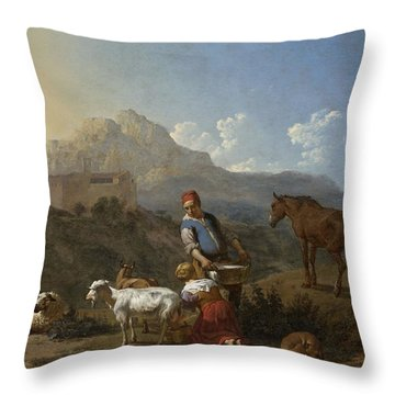 Italian Landscape With Girl Milking A Goat Throw Pillow by Karel Dujardin