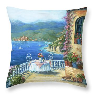 Italian Lunch On The Terrace Throw Pillow by Marilyn Dunlap