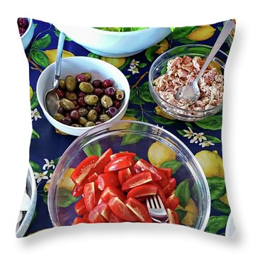 Throw Pillow featuring the digital art Italian Lunch - Porto Santo Stefano, Italy by Joseph Hendrix