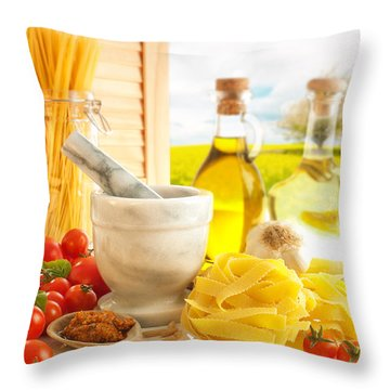 Italian Pasta In Country Kitchen Throw Pillow by Amanda Elwell