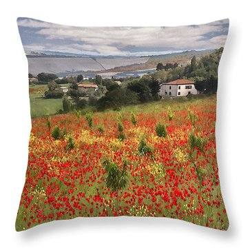 Italian Poppy Field Throw Pillow