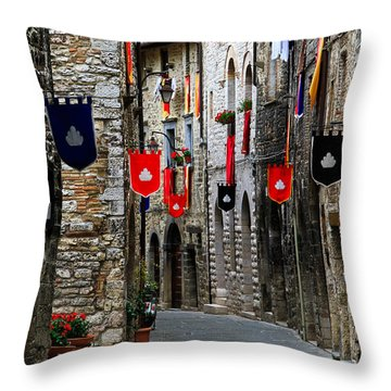 Italian Street Flags Throw Pillow by Roger Mullenhour