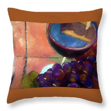 Italian Tile And Fine Wine Throw Pillow by Lisa Kaiser