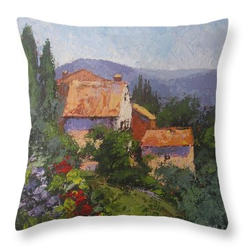 Throw Pillow featuring the painting Italian Village by Chris Hobel