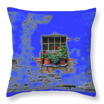 Italian Wallflowers Throw Pillow by Karen Lewis