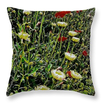 Italian Wildflowers With Red Poppies Throw Pillow