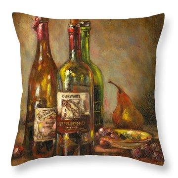 Italian Wine Bottles Throw Pillow by Brenda Brannon