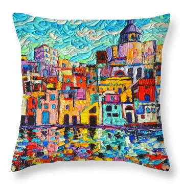 Italy Procida Island Marina Corricella Naples Bay Palette Knife Oil Painting By Ana Maria Edulescu Throw Pillow