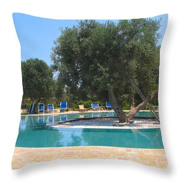 Italy Resort- Olive Tree In Pool Throw Pillow