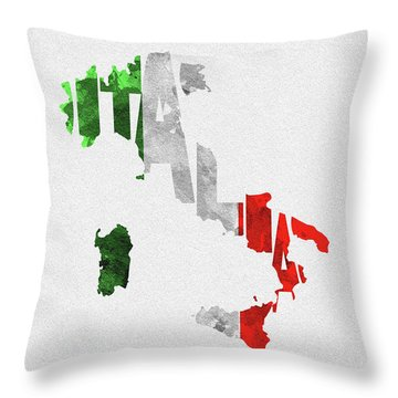 Italy Typographic Map Flag Throw Pillow
