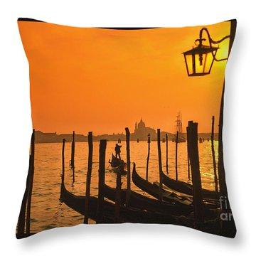 Throw Pillow featuring the photograph Italy Venice Riva Degli Schiavoni , Canale Grande Riva Degli Sch by Juergen Held