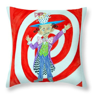 It's A Mad, Mad, Mad, Mad Tea Party -- Humorous Mad Hatter Portrait Throw Pillow