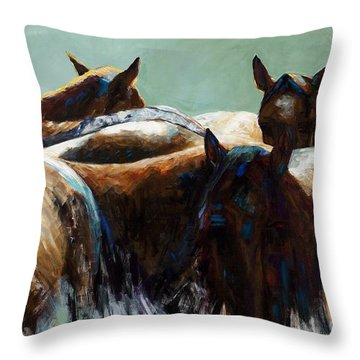 Herd Of Horses Throw Pillows