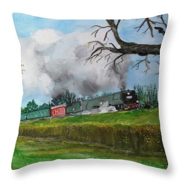 It's All Uphill To Scotland Throw Pillow by Carole Robins