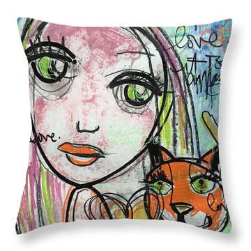 It's Amazing How Much I Love My Cat Throw Pillow by Laurie Maves ART