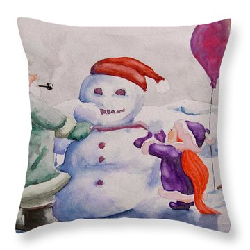 Throw Pillow featuring the painting It's Cold Grandpa by Geni Gorani