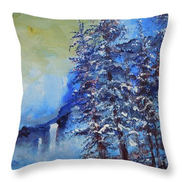 Throw Pillow featuring the painting It's Cold Out by Dan Whittemore
