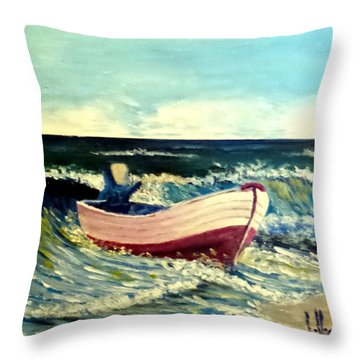 Throw Pillow featuring the painting It's Going To Pole And Turtle by Jim Phillips