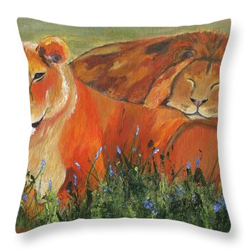 Throw Pillow featuring the painting It's Good To Be King by Jamie Frier