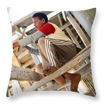Throw Pillow featuring the photograph It's How It's Done Over Here by Jez C Self