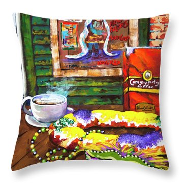 It's Mardi Gras Time Throw Pillow
