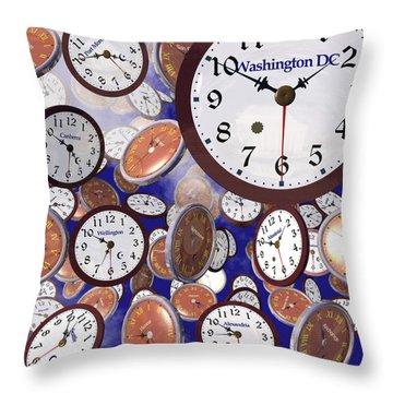 It's Raining Clocks - Washington D. C. Throw Pillow