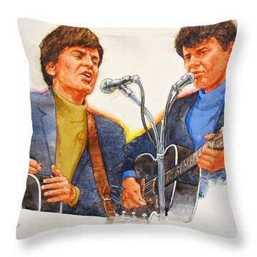 Throw Pillow featuring the painting Its Rock And Roll 4  - Everly Brothers by Cliff Spohn