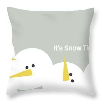 It's Snow Time Snow Heads- Art By Linda Woods Throw Pillow