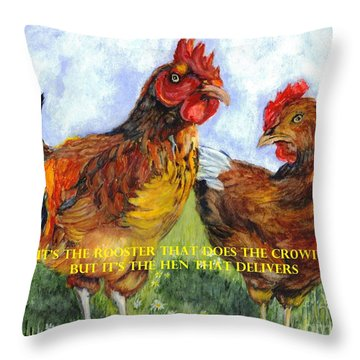 It's The Rooster Throw Pillow by Carol Wisniewski