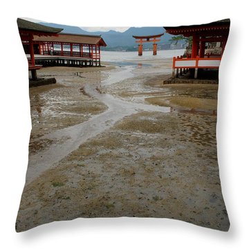 Itsukushima Shrine And Torii Gate Throw Pillow