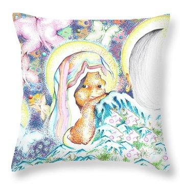 Itzpapalotl Y La Joven Virgin Throw Pillow