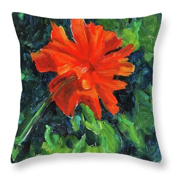 Throw Pillow featuring the painting I've Got My Red Dress On by Billie Colson