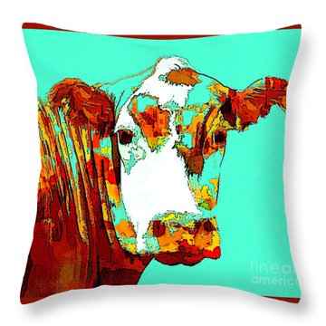 Turquoise Cow Throw Pillow